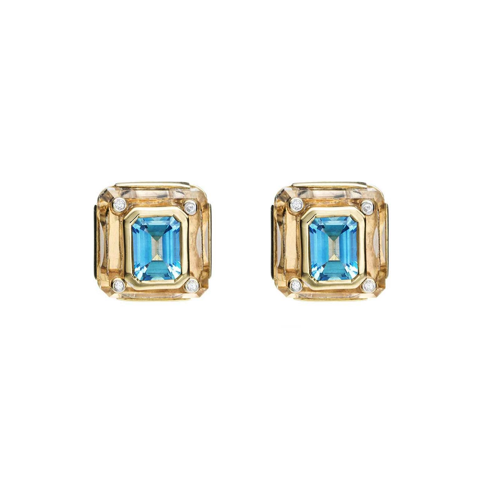 Kara Ross Cava earrings in rock crystal with blue topaz
