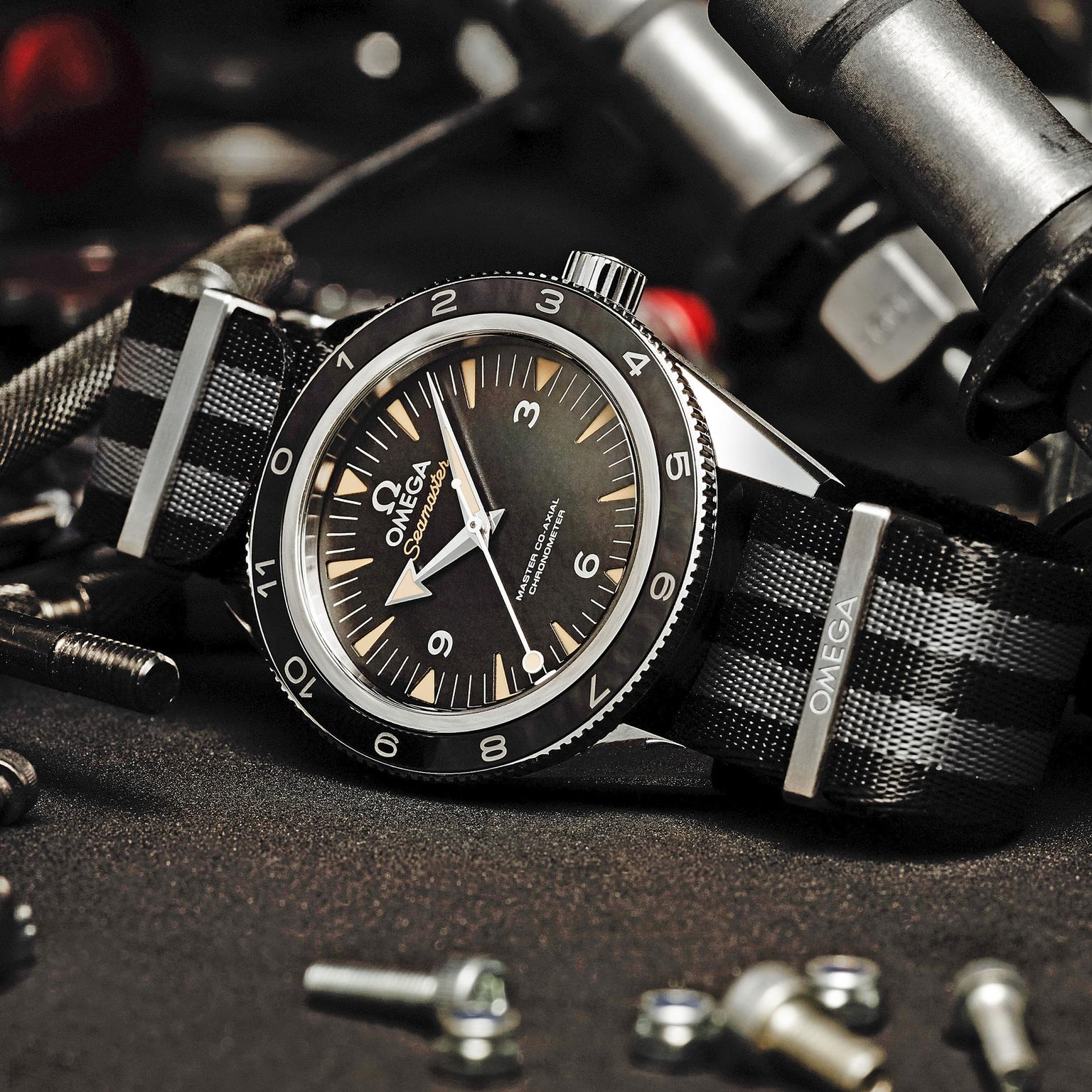 James Bond Omega Seamaster 300 Spectre watch with NATO strap