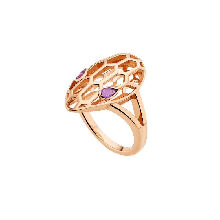 Bulgari Serpenti Seduttori rose gold and amethyst ring