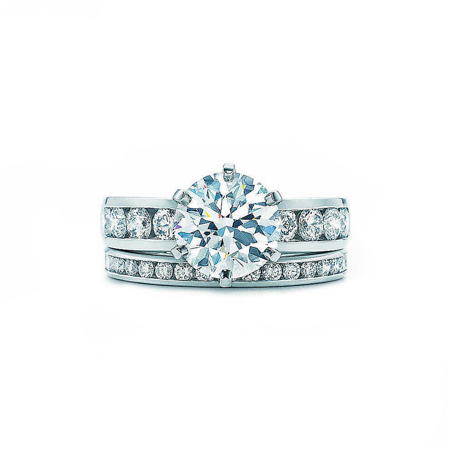 Channel-set Tiffany engagement ring and wedding band
