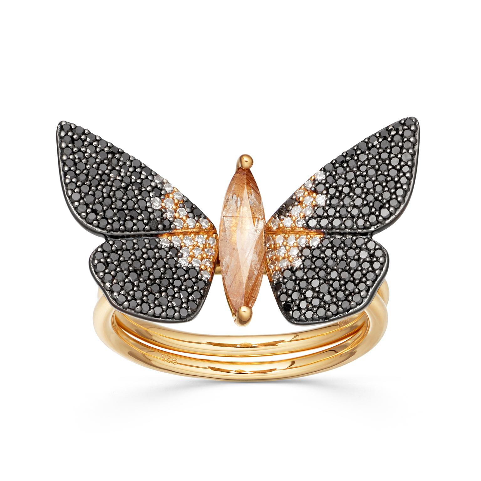 Astley Clarke Phototaxis Magpie Moth ring