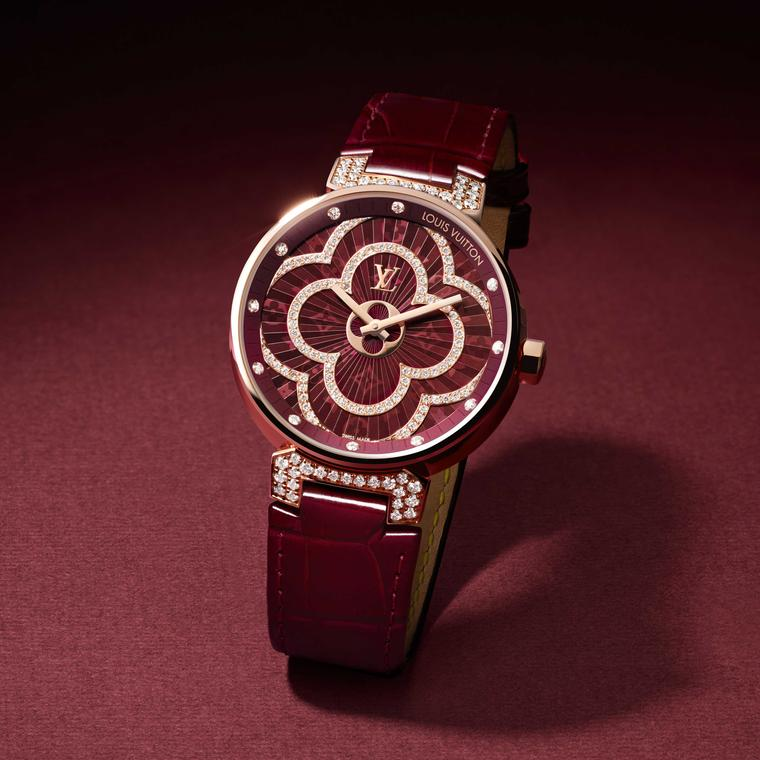 Louis Vuitton Tambour Moon Divine pink gold ladies watch