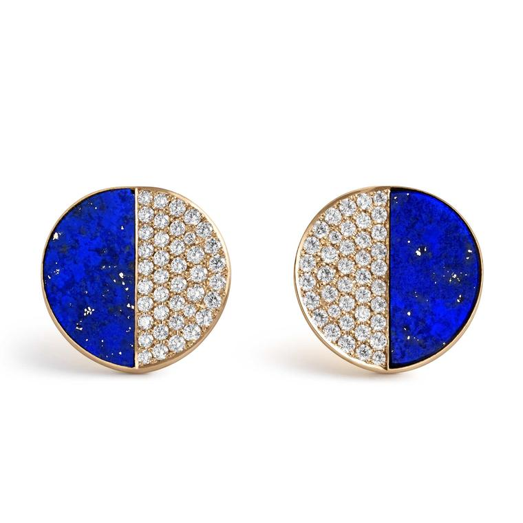 Bucherer B Dimension ear studs with diamonds and lapis lazuli in rose gold Price £2200