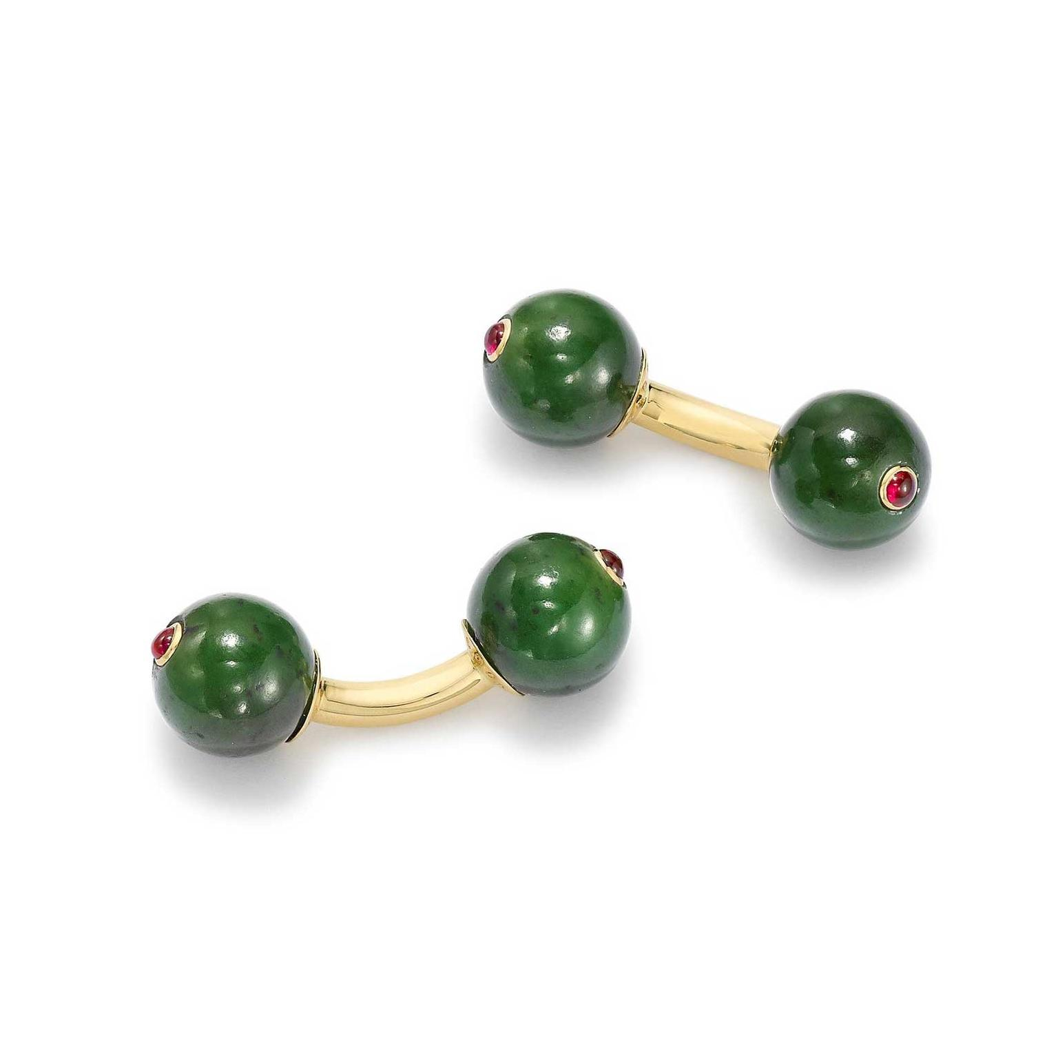 Kiki McDonough green jade ruby cufflinks