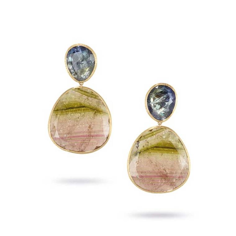 Marco Bicego watermelon tourmaline and rough-cut blue sapphire earrings from the Unico collection.
