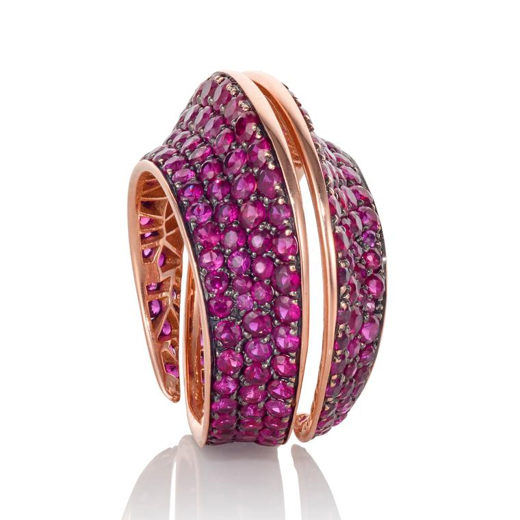 Spira ruby ring in rose gold