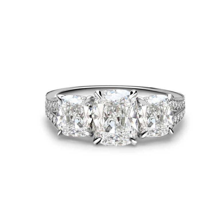 George Pragnell three stone cushion cut engagement ring