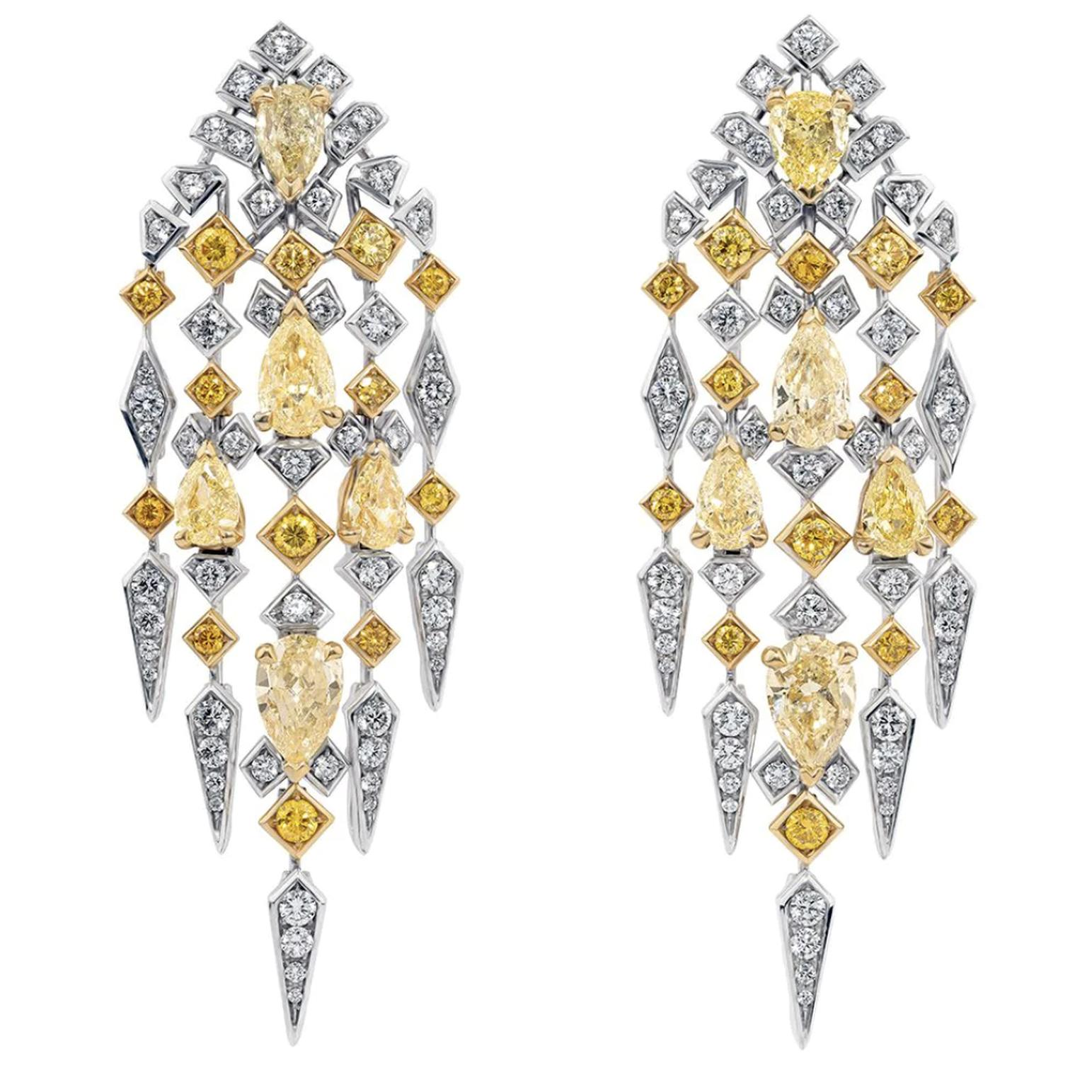 Yellow and white diamond earrings by David Morris