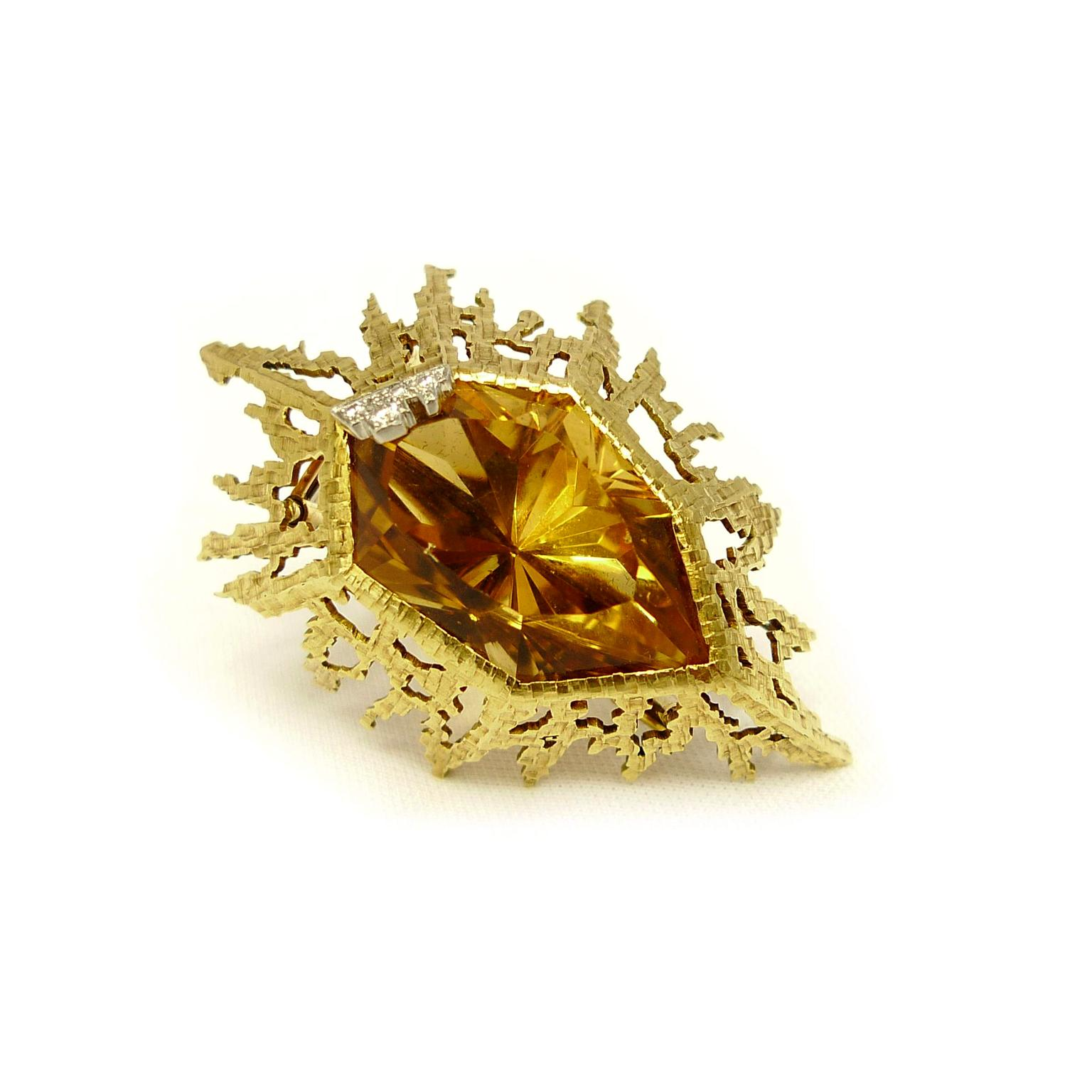 Andrew grima gold and Brazilian citrine brooch