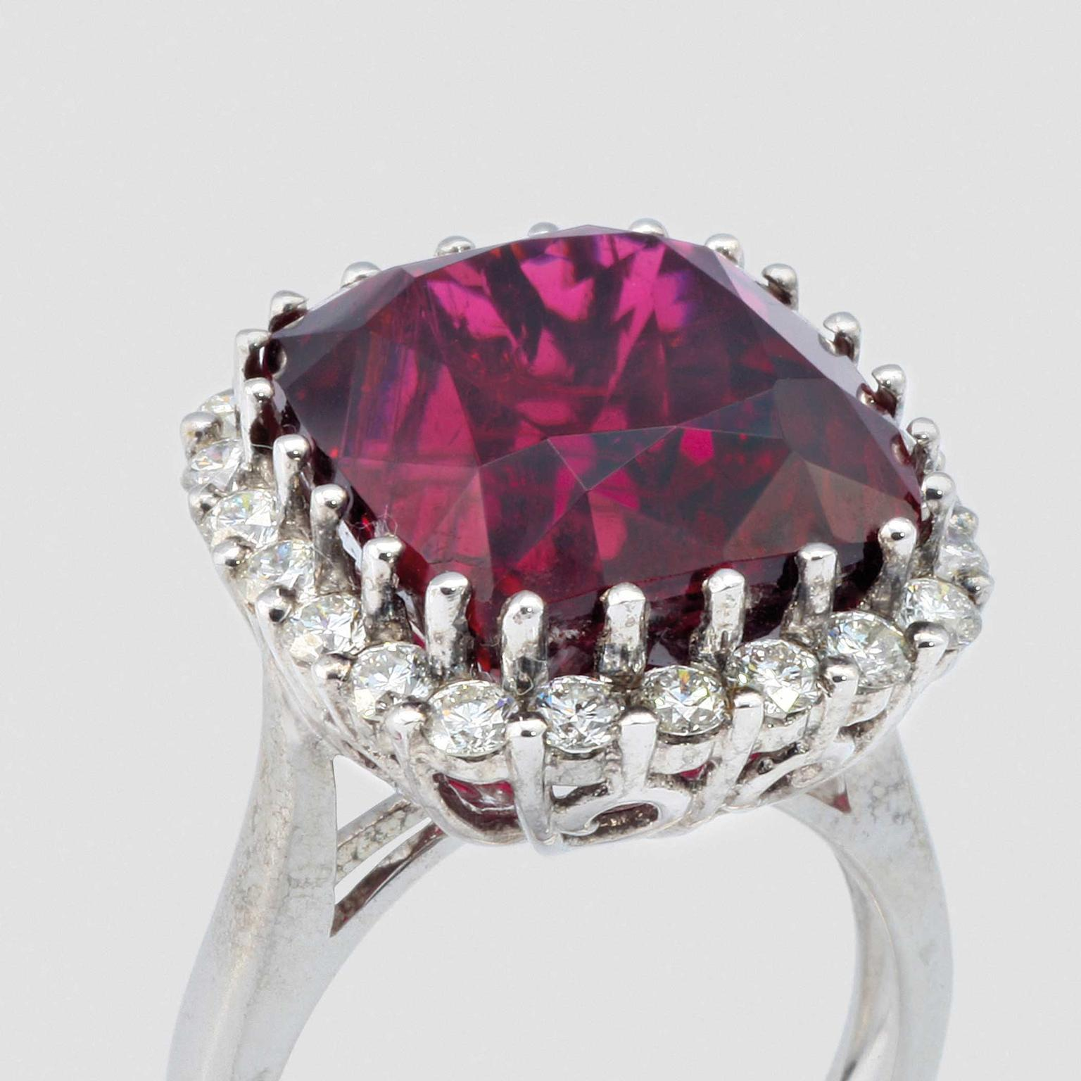 David Jerome Collection rubellite and diamond-set ring