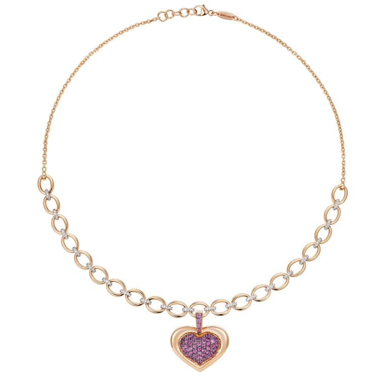 NAdine Aysoy NECKLACE AND PINK SAPPHIRE PENDANT HEART, SOLD SEPARATELY