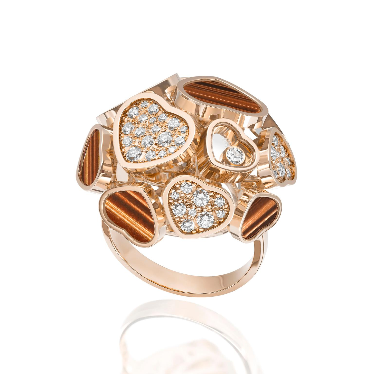 Chopard Happy Hearts ring with tiger's eye