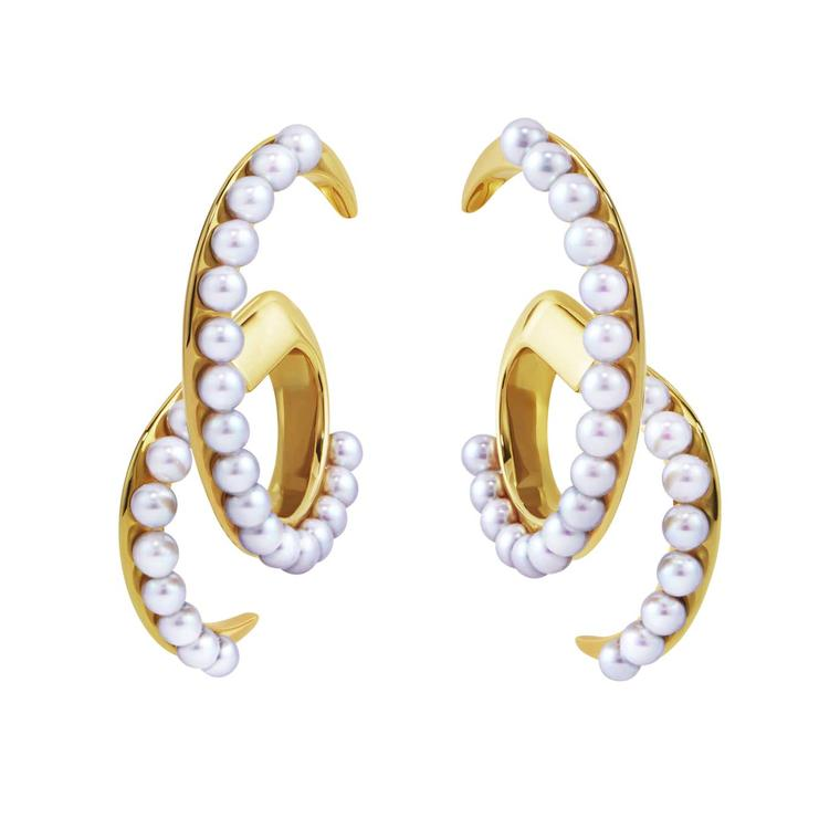 Tasaki Atelier Surge Akoya pearl and gold earrings