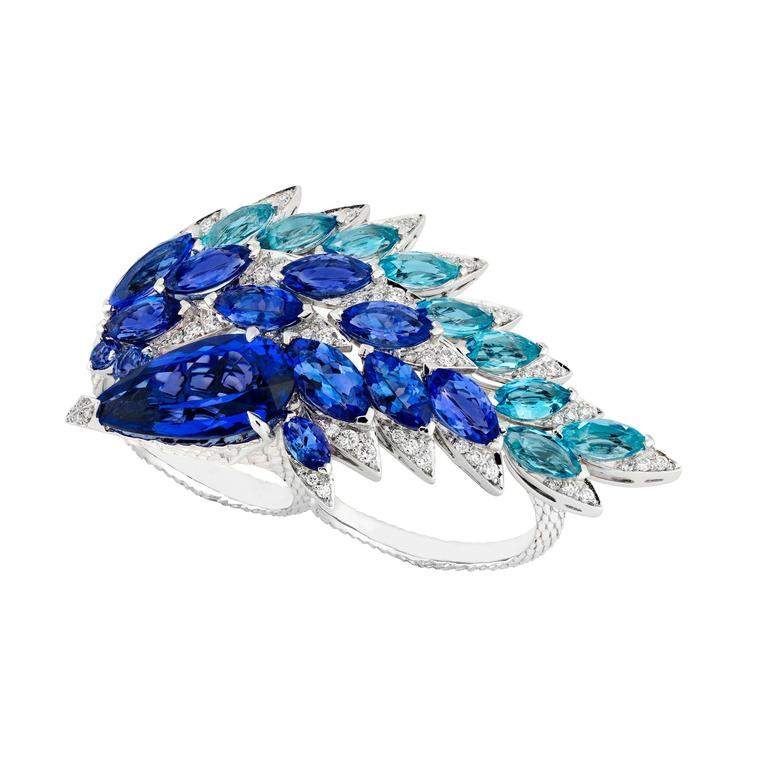 Stephen Webster marquise-cut aquamarine and tanzanite ring