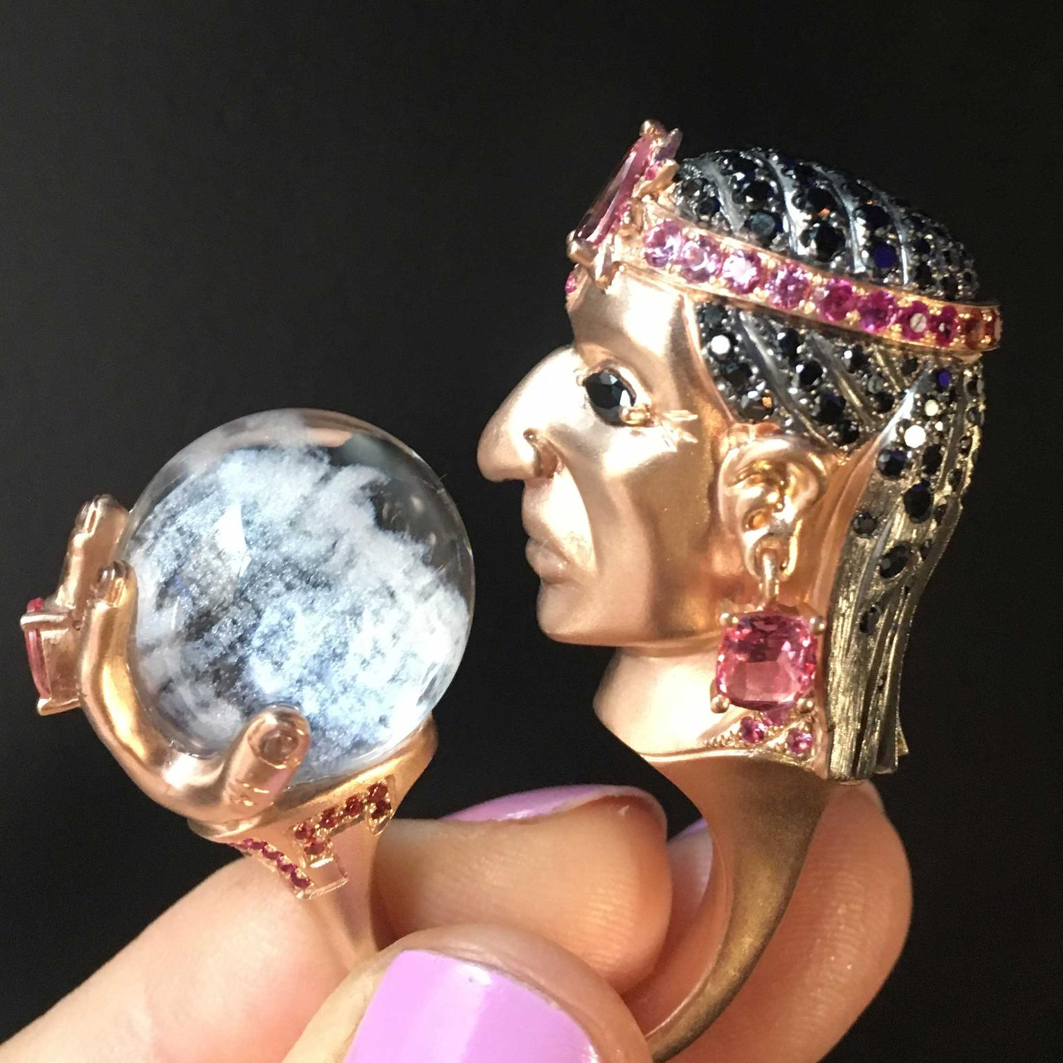 Lydia Courteille Rosa del Inca Atahualpa gazing into crystal ball ring