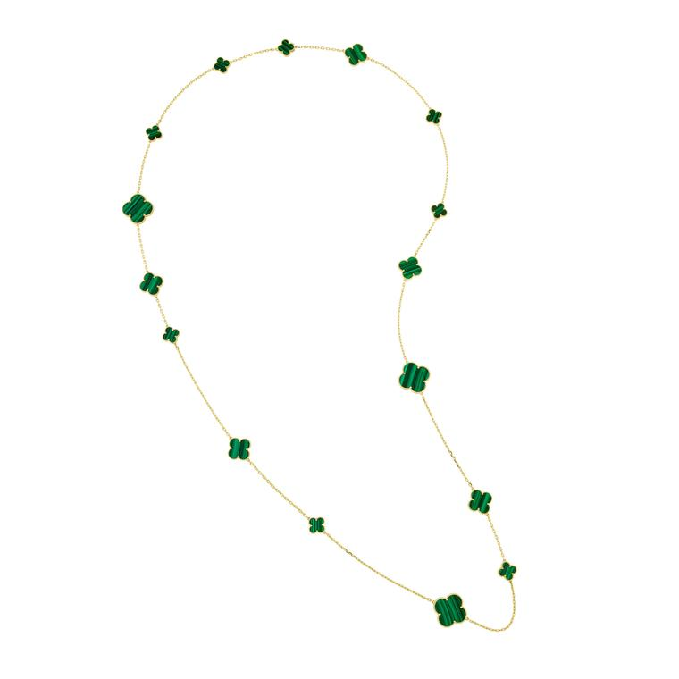 Magic Alhambra long malachite necklace