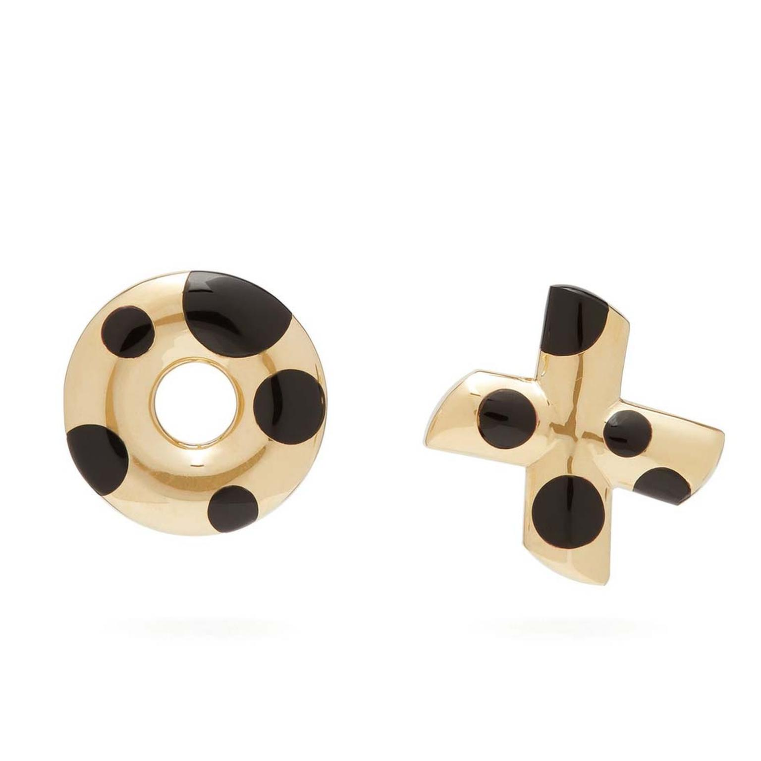 Retrouvai Polka Dot XO onyx gold earrings