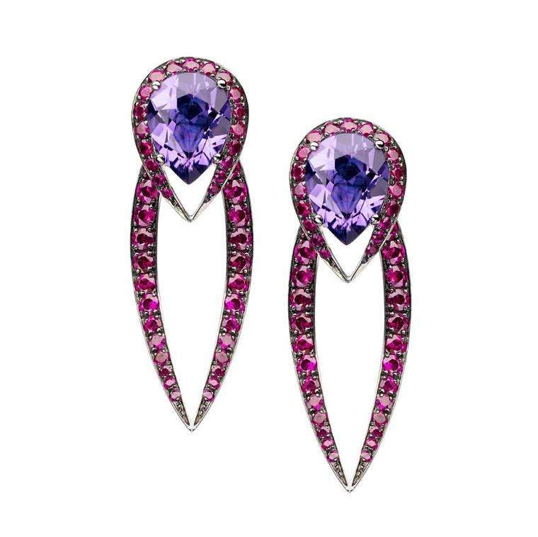 Shaun Leane amethyst and ruby Aurora earrings