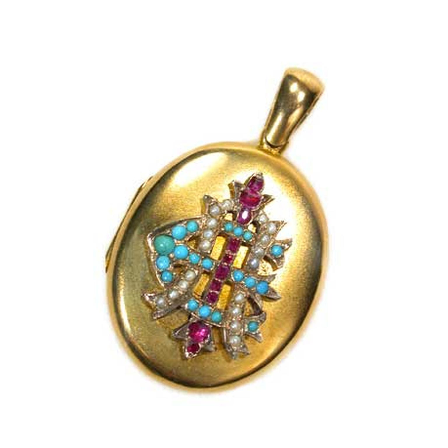 The Three Graces Victorian gold pendant with rubies, sapphires and seed pearls