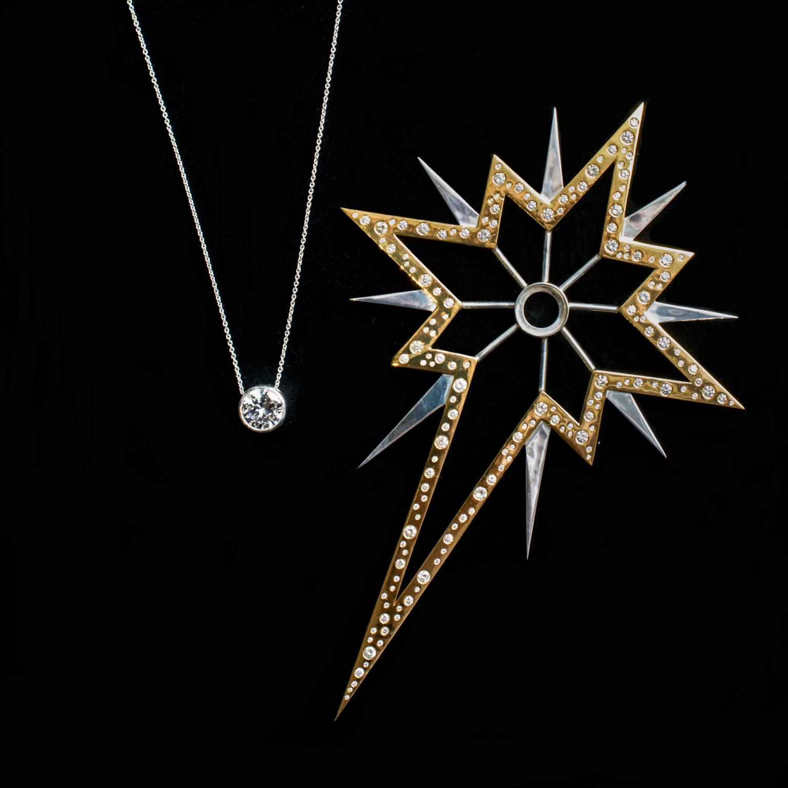 77 Diamonds Christmas star with diamond necklace