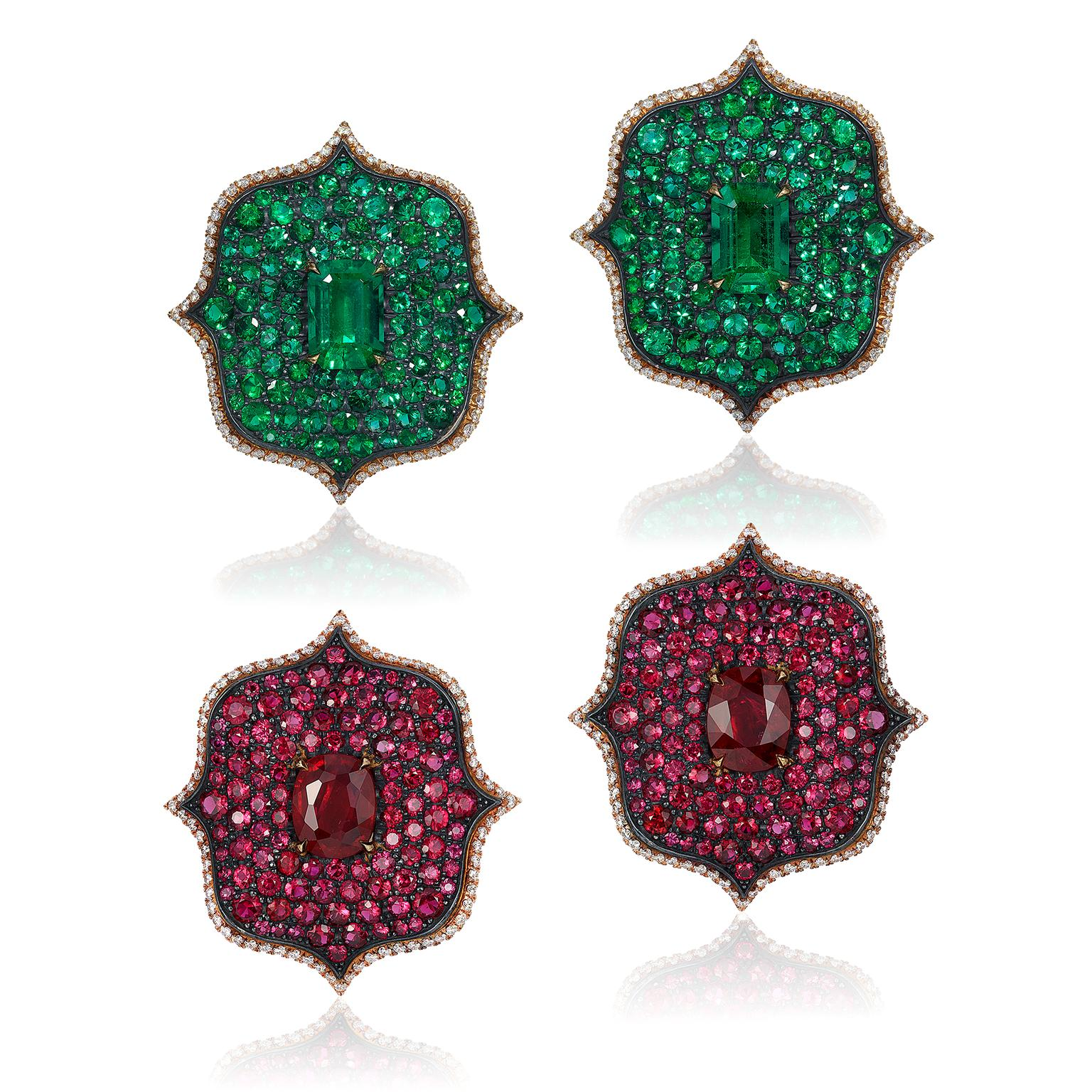 Bayco Monochrome Lotus earrings with emeralds and rubies