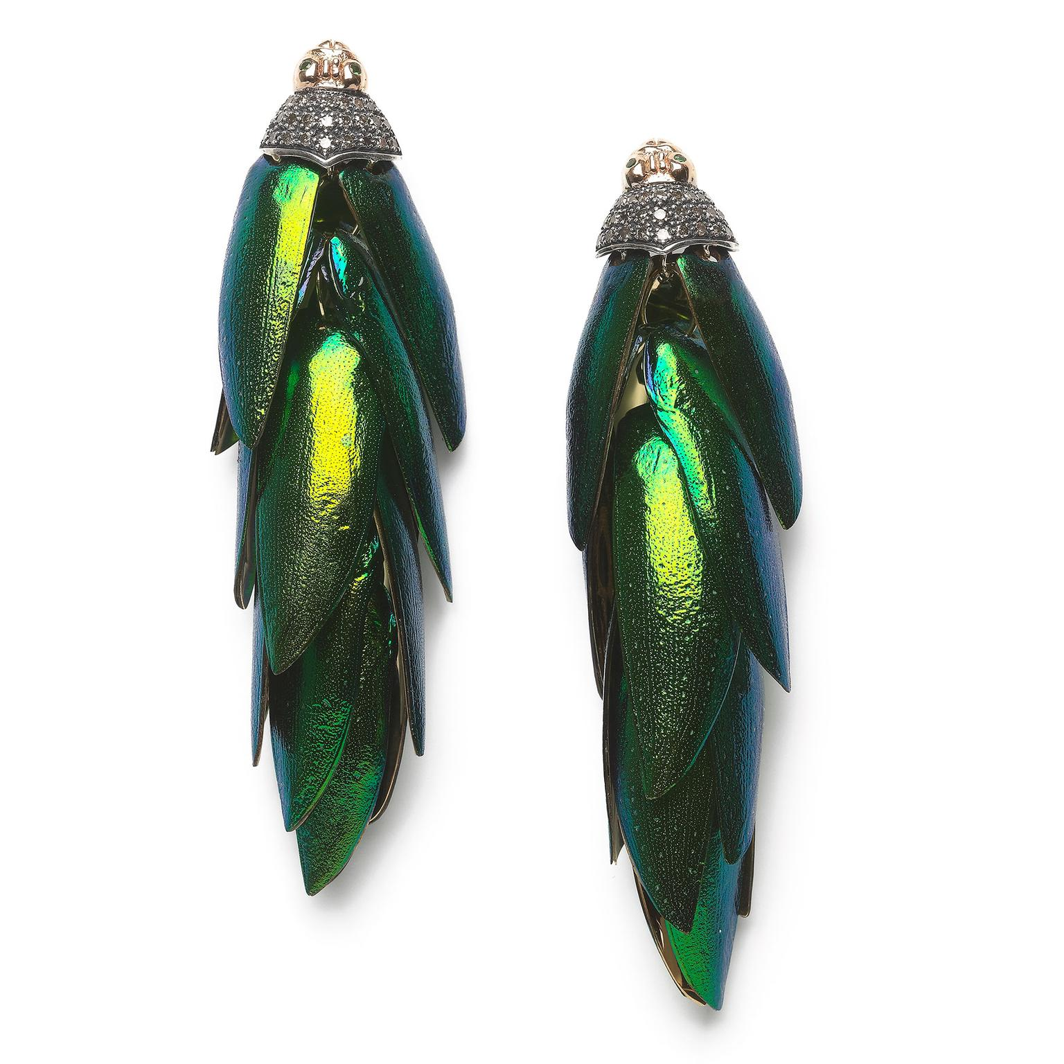 Bibi van der Velden Scarab bunch earrings in gold featuring authentic, ethically sourced beetle wings (£5,055).