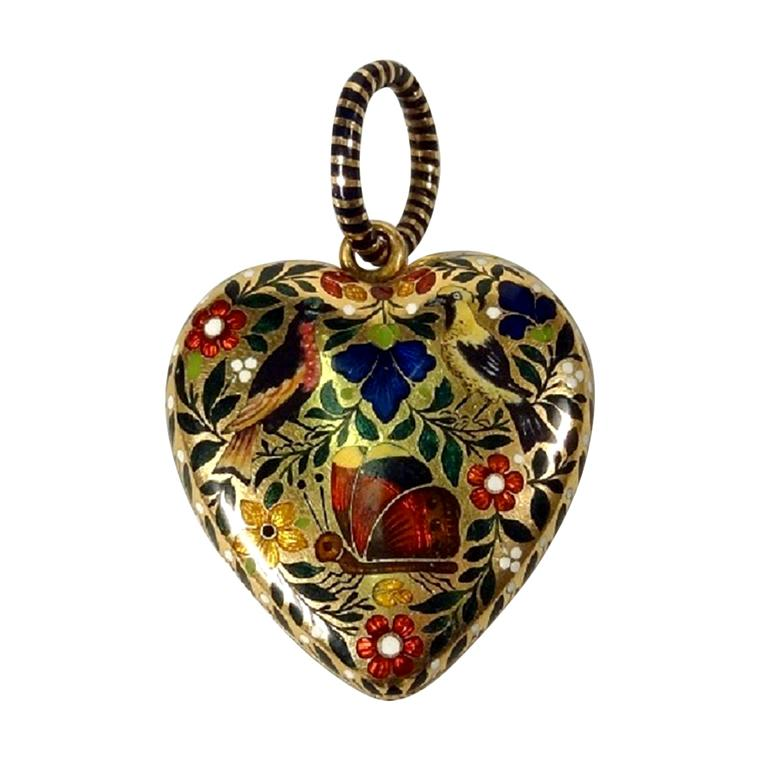 James Robinson enamelled gold heart locket