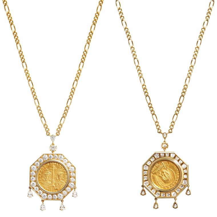 Inés Nieto necklace Byzantine coin front and back