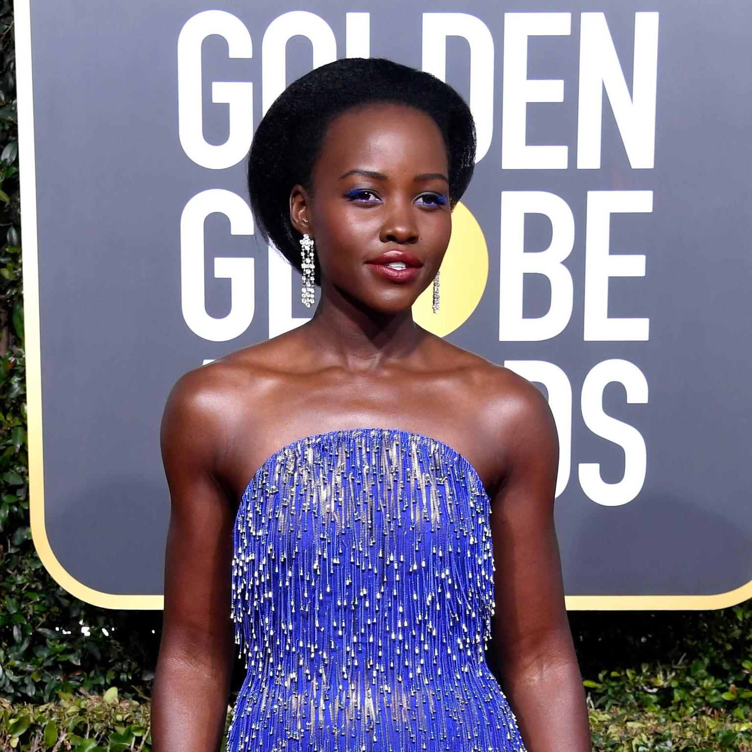 Lupita NyOng'o in Bulgari jewels Golden Globes 2019
