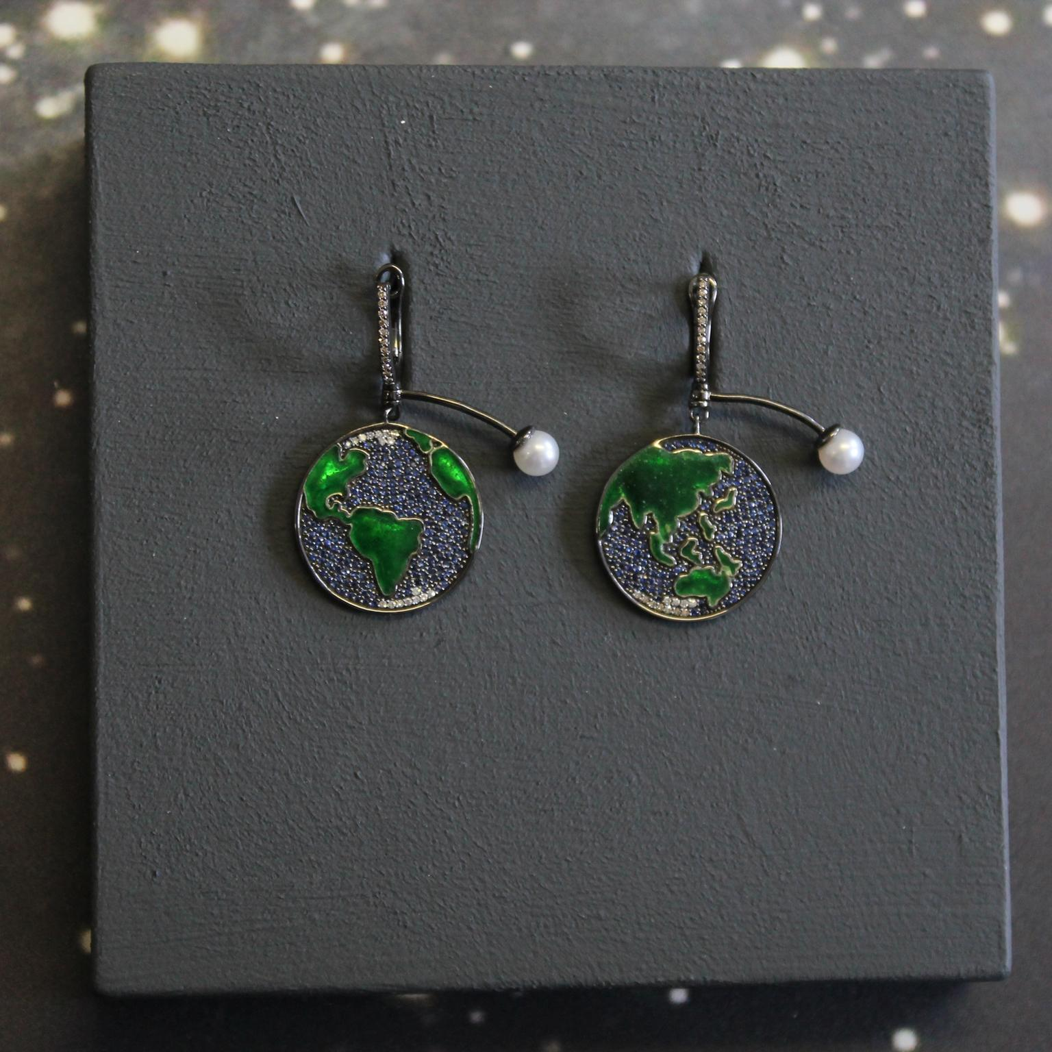 Astley Clarke sapphire Earth drop earrings