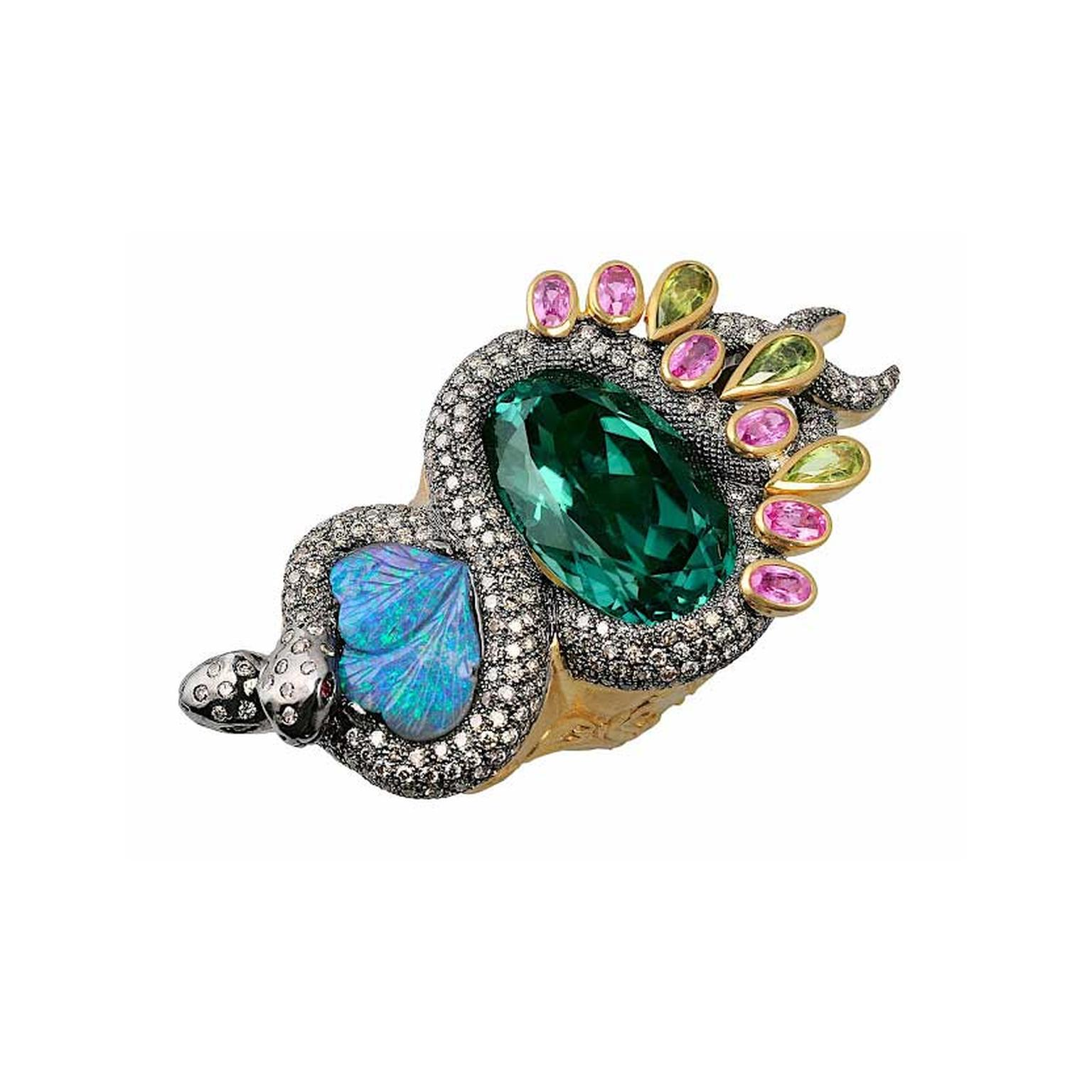 Sylvie Corbelin black opal and tourmaline ring