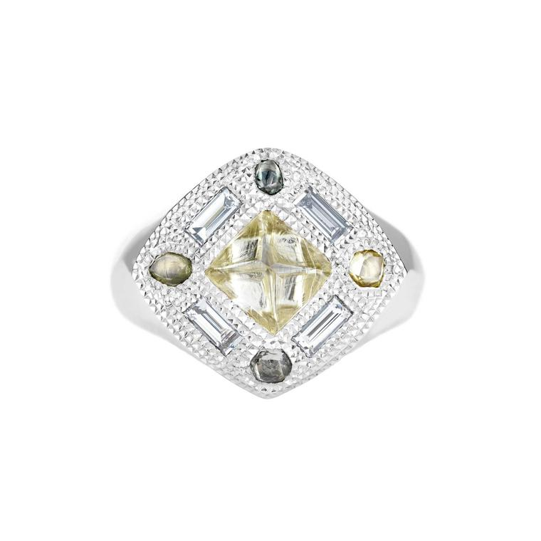 De Beers Talisman signet ring with rough diamonds