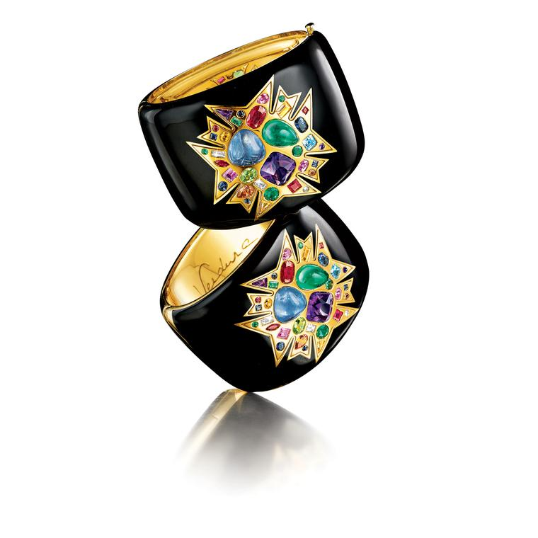 Theodora cuff with sapphires, emeralds and amethysts