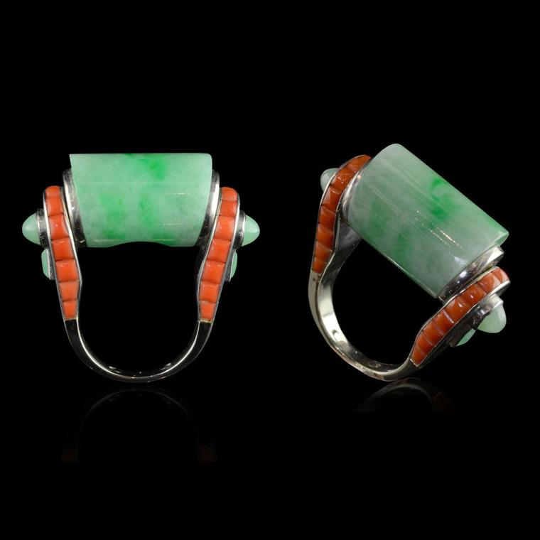 Hanocks London vintage 1930 Art Deco Elizabeth Taylor jade and coral ring, at TEFAF 2017