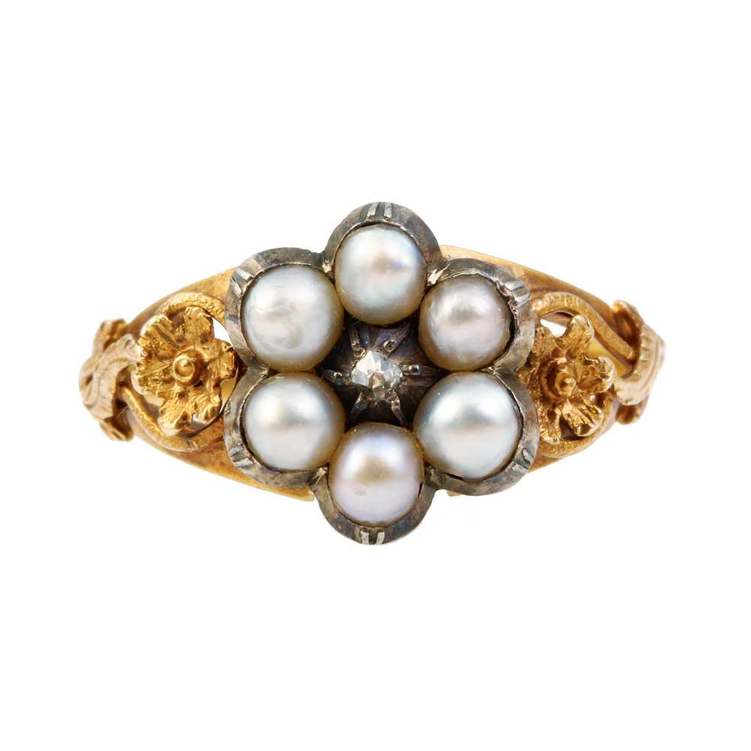 Bell and Bird pearl ring with a diamond and gold forget-me-nots