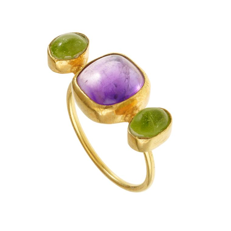 Pippa Small gold vermeil, amethyst and peridot ring