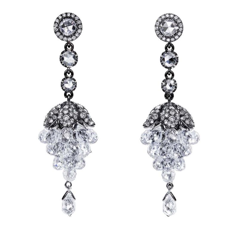The Botanics earrings from No. THIRTY THREE in 18 carat black gold with white diamonds and white sapphire briolettes