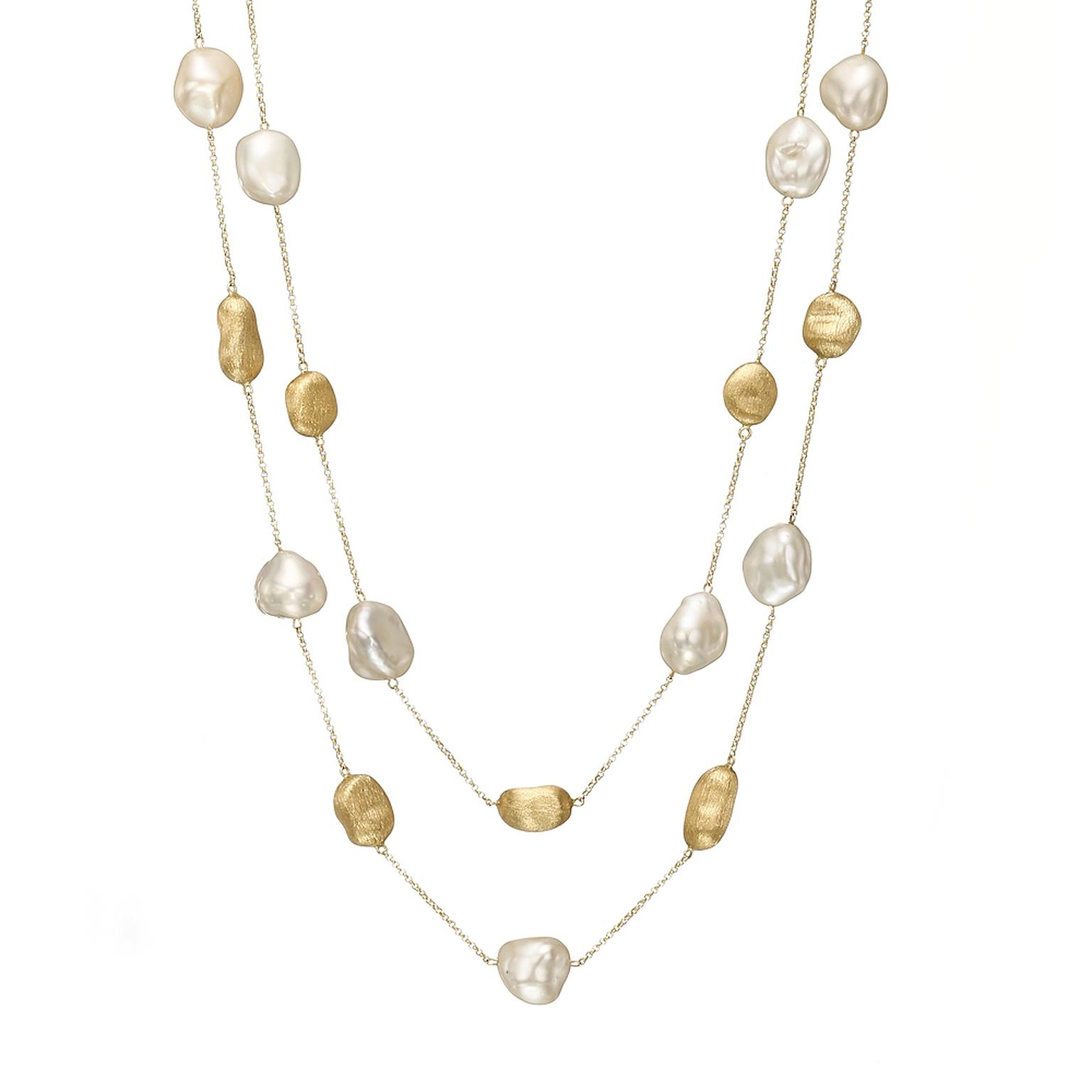 Yvel keshi pearl and gold nugget necklace