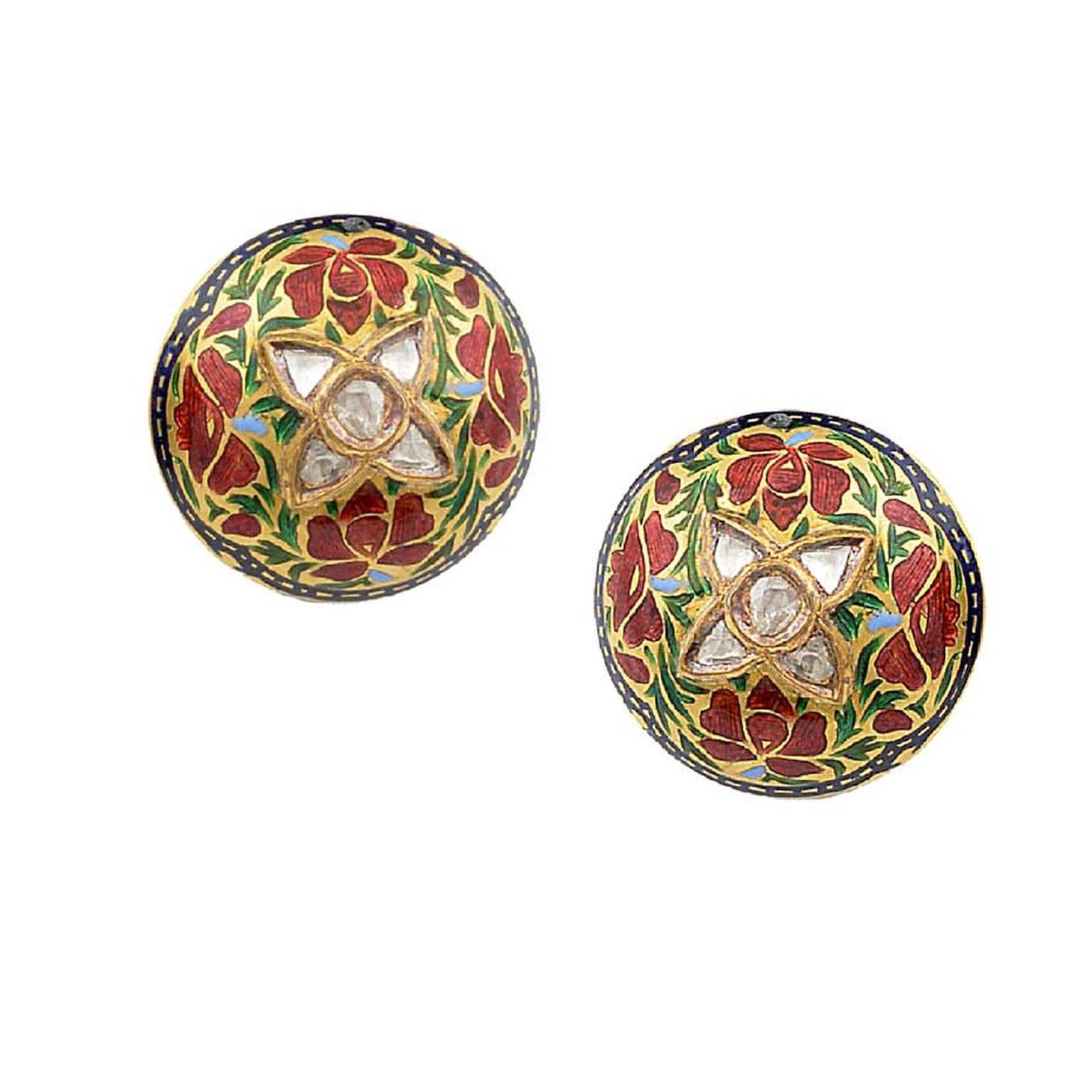Intricate flower cufflinks by Amrapali, studded with rubies and diamonds.