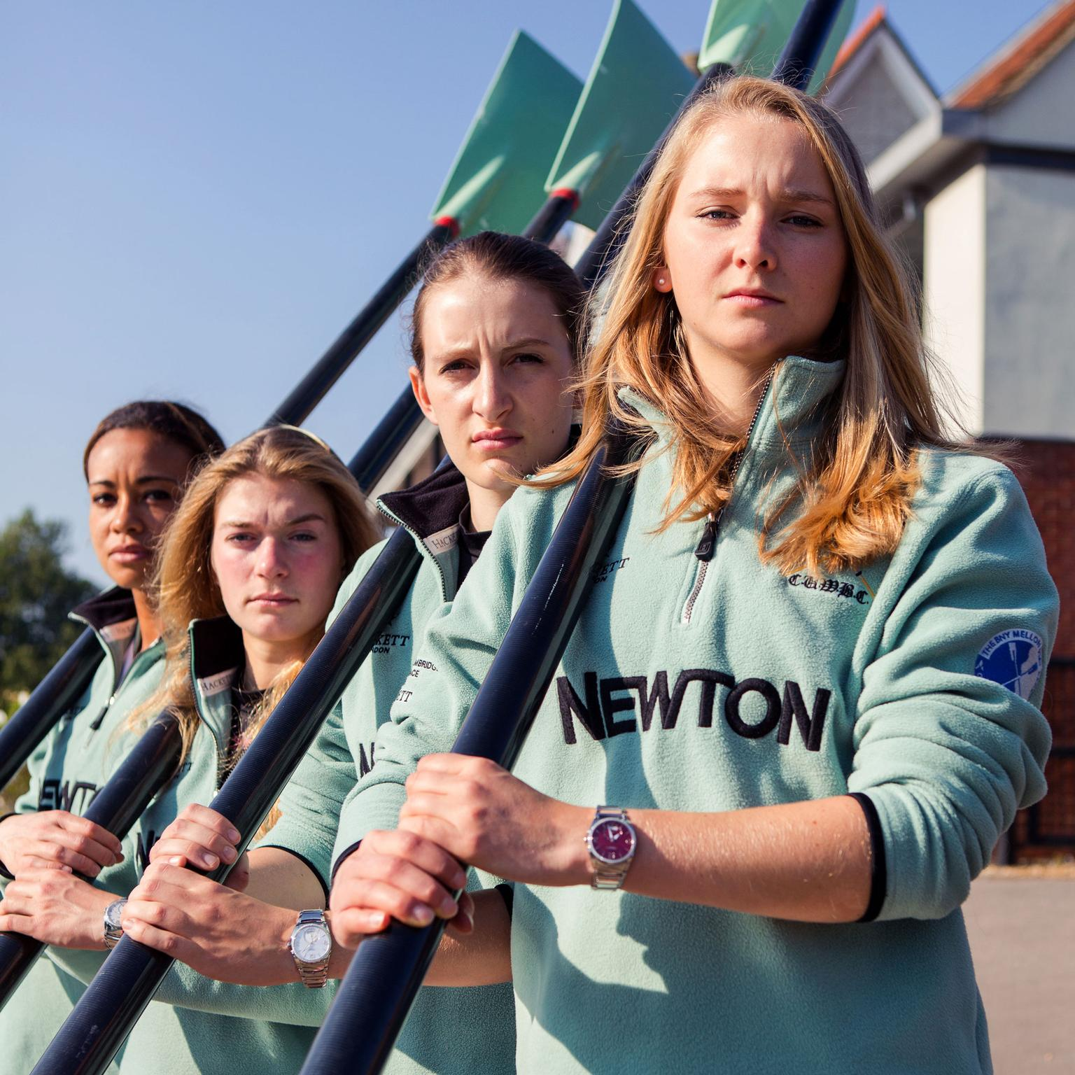 Hannah Roberts, lines up with her team mates wearing a Parmigiani Tonda Metropolitaine watch