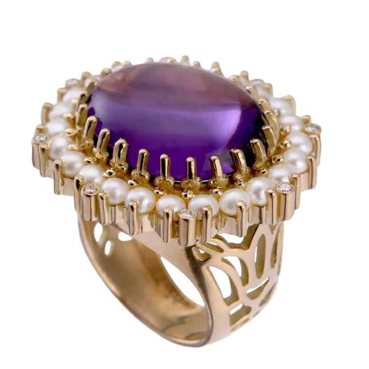 Azza Fahmy Lotus ring with 20 carat amethyst