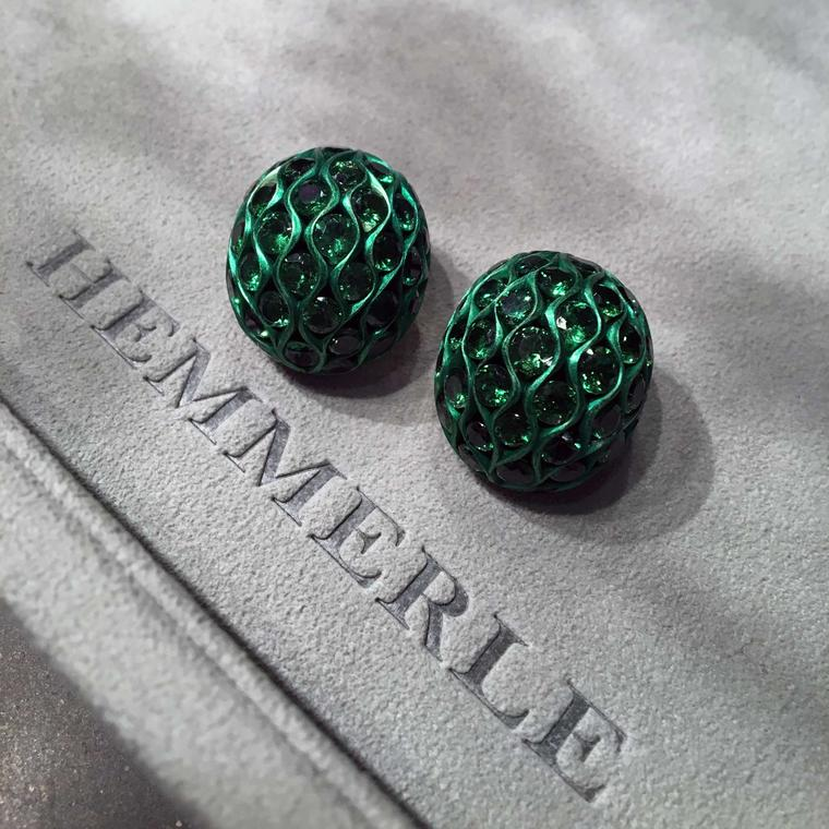 Hemmerle [AL} Project earrings  set with tsavorite garnets in aluminium and white gold