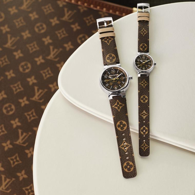 Louis Vuitton Icon Tambour Monogram watches on white leather