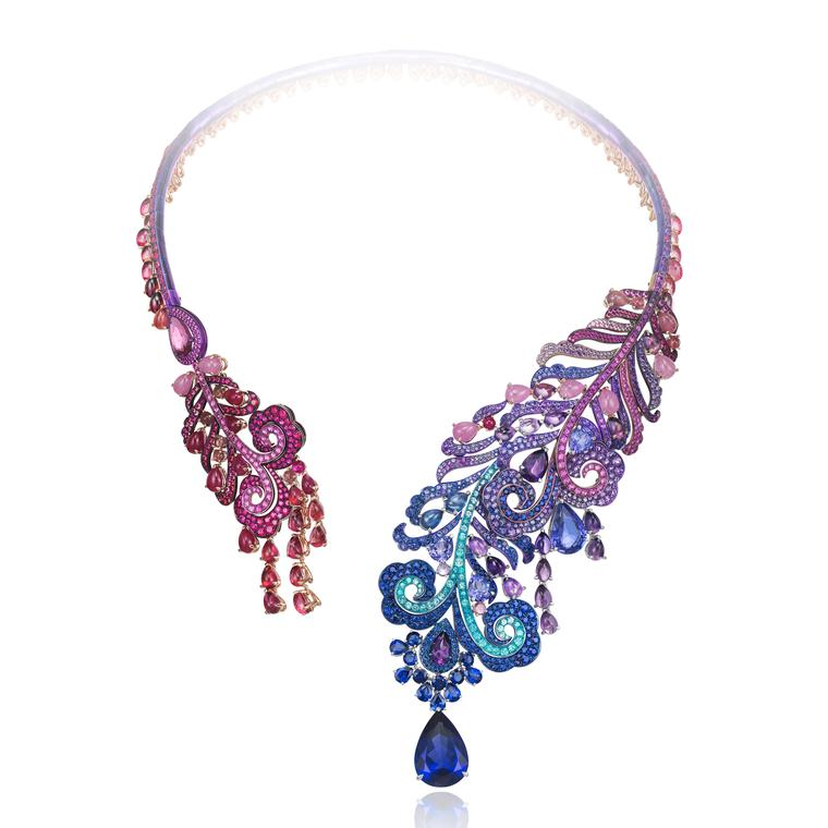 Haute Joaillerie tanzanite necklace in white gold and titanium