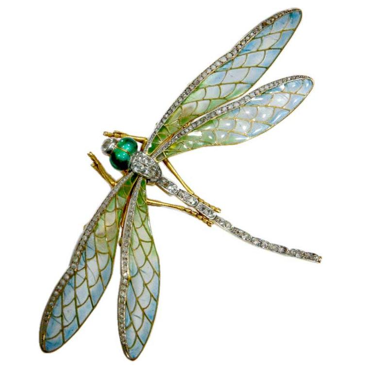Linda Horn Art Nouveau dragonfly pin with Plique-à-Jour enamel and rose-cut diamonds