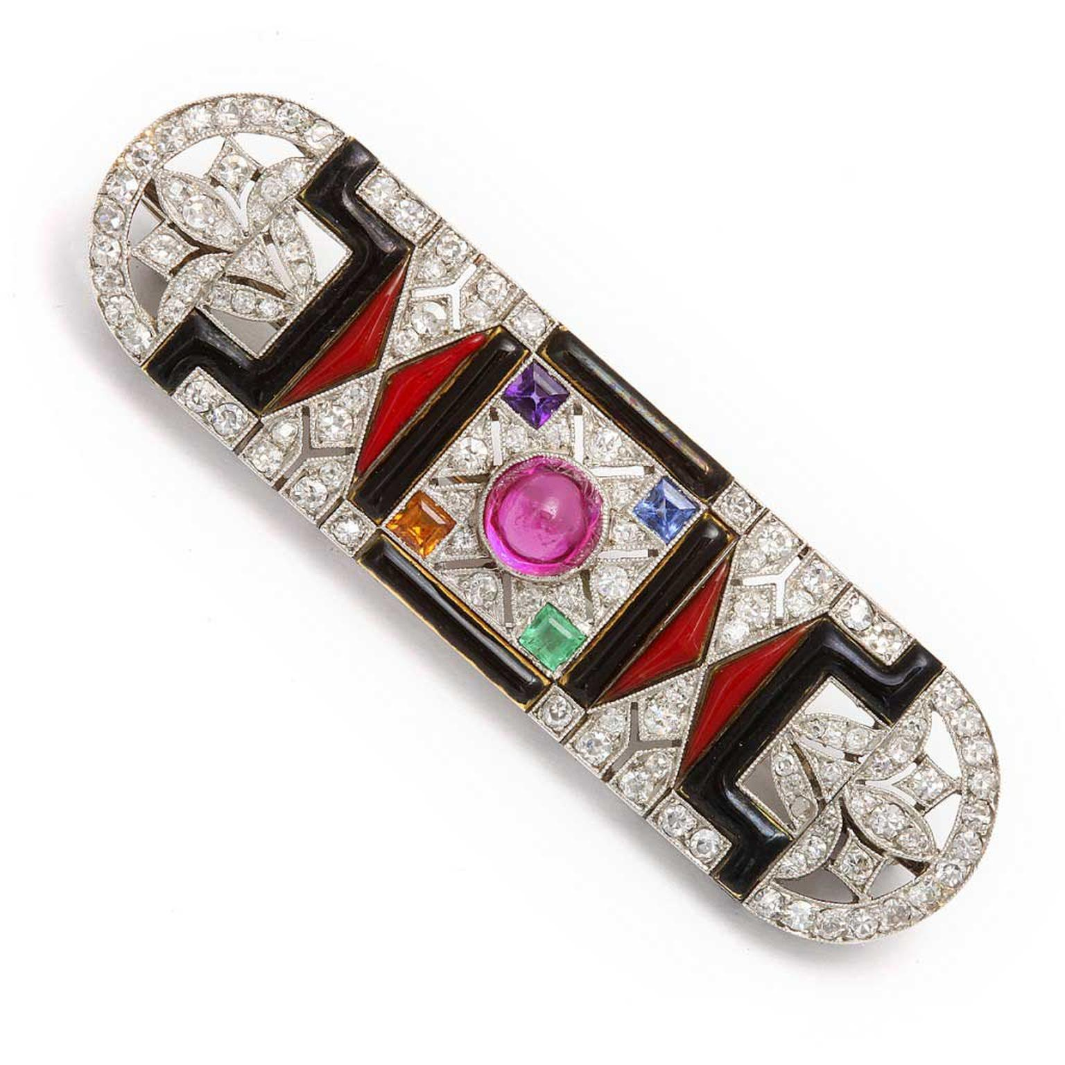 A La Vieille Russie diamond and black onyx brooch