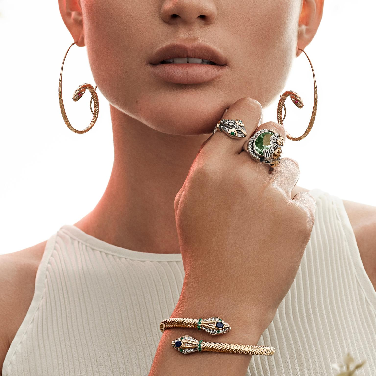 Azza Fahmy Wonders of Nature Serpent earrings, ring and bracelet