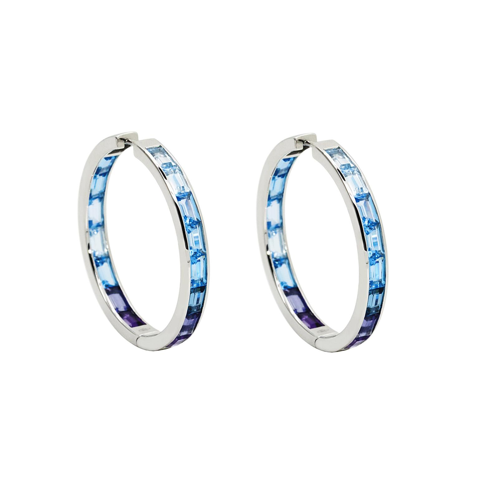 Daou Morning multicolour gemstone hoop earrings in white gold