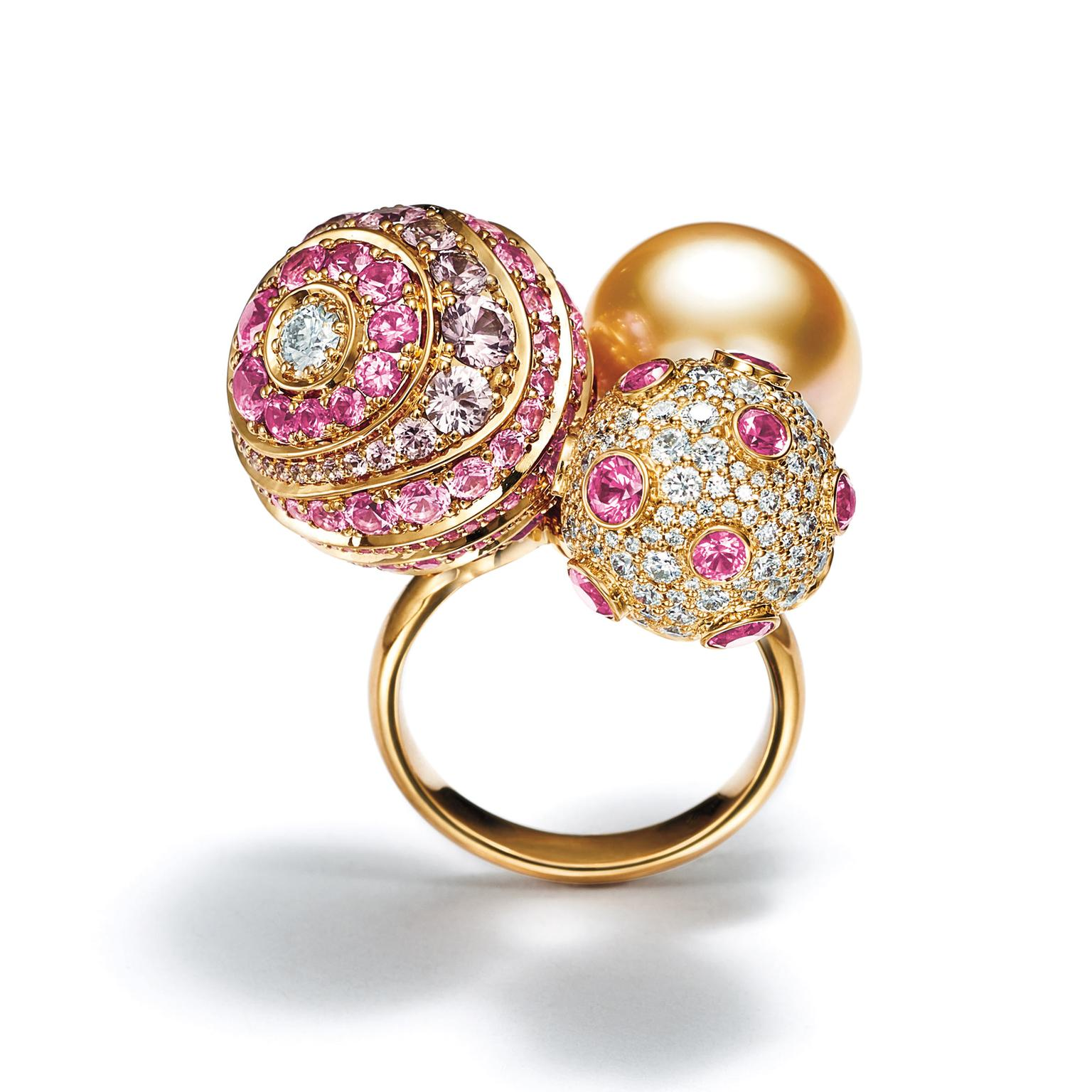 Tiffany & Co Masterpieces golden pearl pink sapphire diamond ring