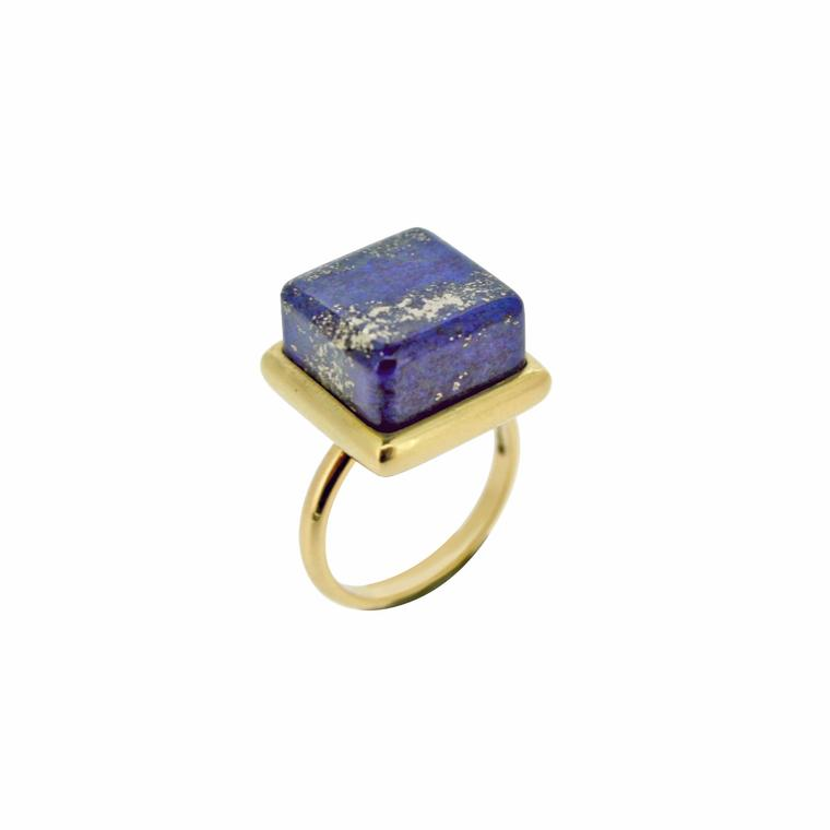 ColourBlock lapis lazuli and yellow gold ring